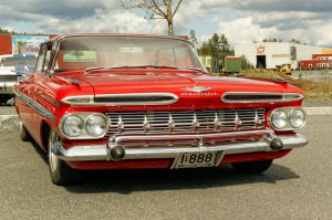 "Grimstad, Norway - May 1, 2015: Chevrolet in red at American cars show ""AmCar monstring""."