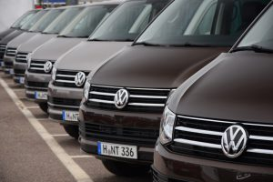 Stockholm, Sweden - June, 25th, 2015: Volkswagen T6 Caravelle stopped on the parking before the test drives at international press launch. Volkswagen T6 is powered by the 2.0-litre diesel engine or 2.0-litre pertol engine. This car is one of the most popular commercial vehicle in Europe.